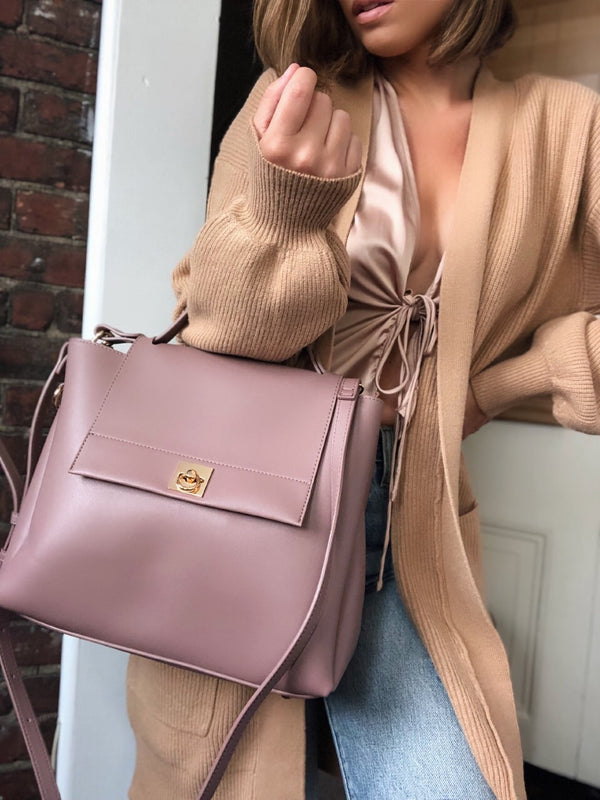 Jane Mauve Vegan Leather Large Satchel Bag - amannequin - amannequin