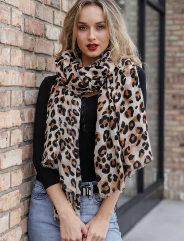 Camille Leopard Print Scarf