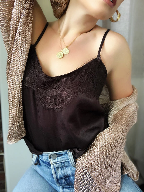 Coralee Chocolate Brown Satin & Lace Cami Tank Top - amannequin - amannequin