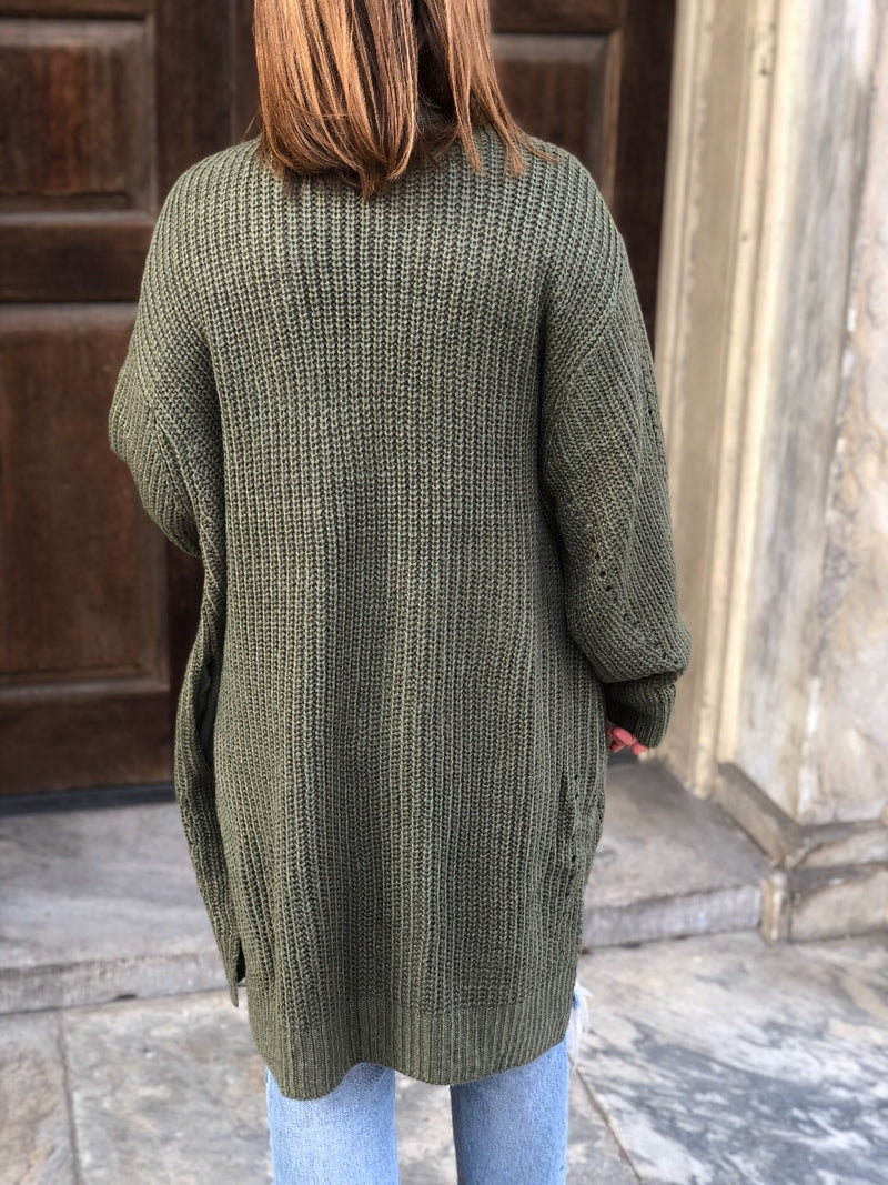 Luca Slouchy Knit Cardigan - Olive - amannequin - amannequin