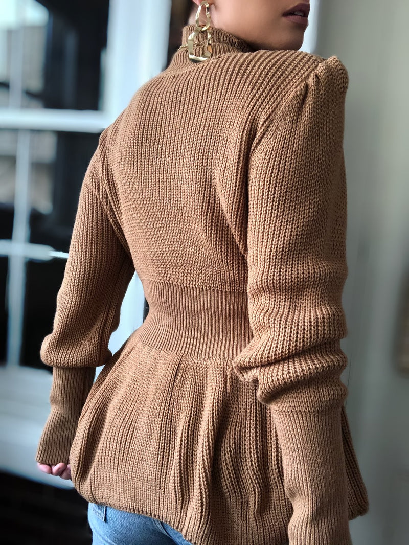 Diana Turtleneck Puff Sleeve Sweater - Almond - amannequin - amannequin