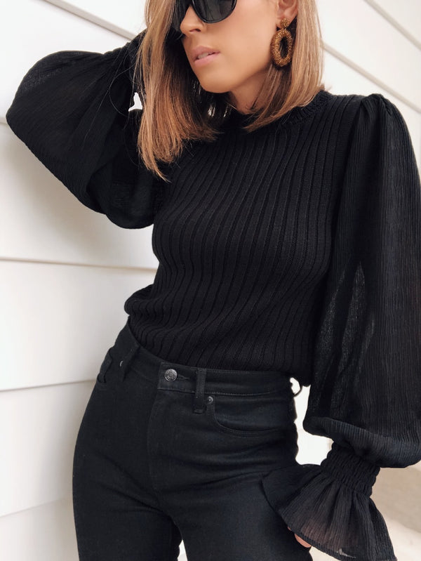 Alexa Contrast Puff Sleeve Sweater - Black-Sweater-Current Air-AMQN Boutique