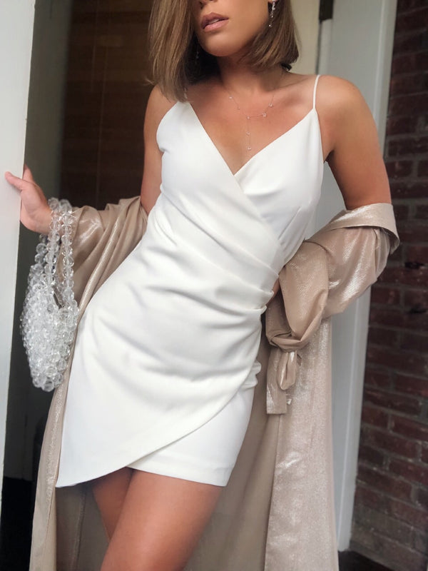 Liv White Faux Wrap Mini Dress-dress-on twelfth-AMQN Boutique