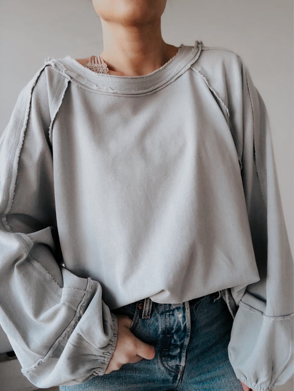 Kinsley Terry Knit Oversized Pullover | Sage