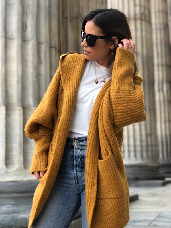 Willow Hoodie Cardigan Sweater - Mustard-Sweater-listicle-AMQN Boutique
