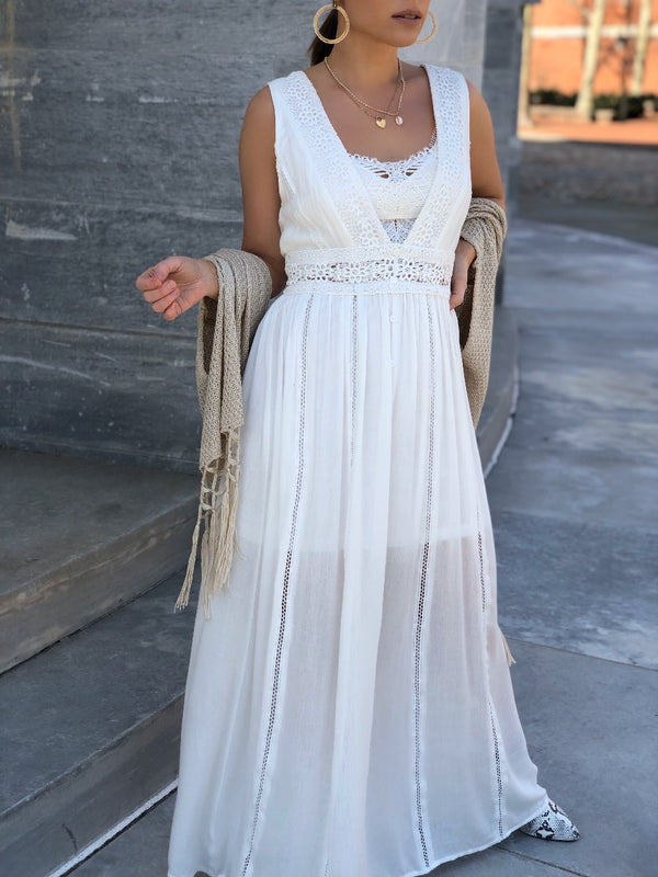 Issa Boho Crochet Lace Maxi Dress - Off White