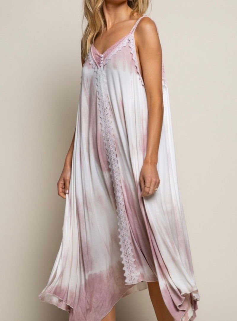 LAVENDER BLOSSOM LOUNGE MAXI DRESS - PINK