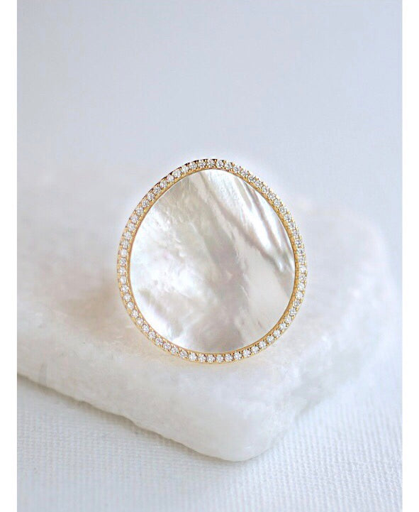 Bell Isle Gold CZ Mother of Pearl Sterling Silver Ring-Hand ring-citi jewels-AMQN Boutique