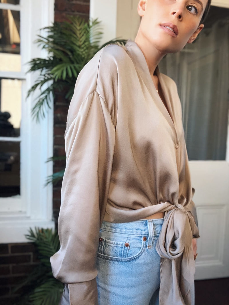 Kelly Tie Front Blouse Top - Taupe - amannequin - amannequin