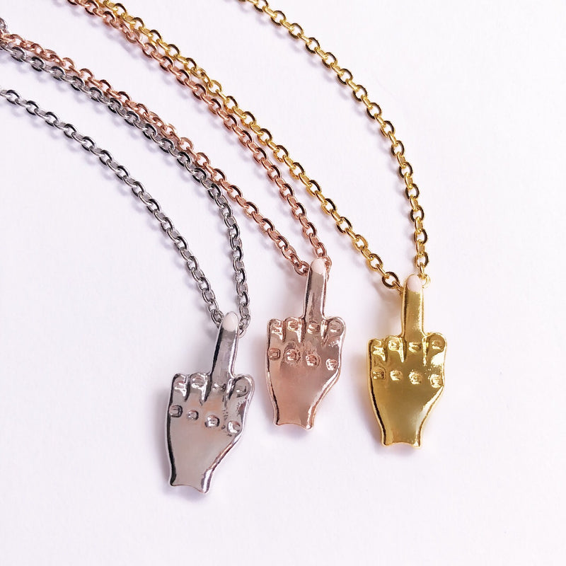 amannequin FU Pretty Middle Finger Necklace - amannequin - amannequin