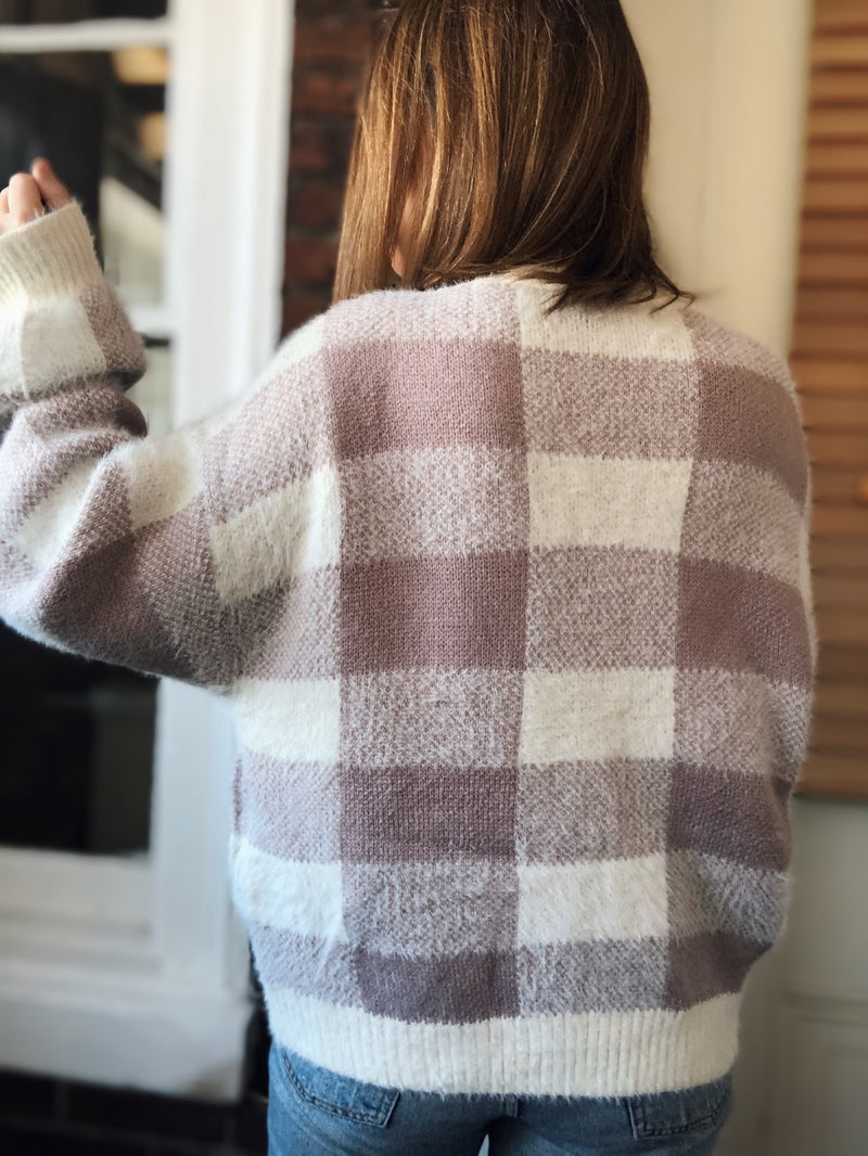 BFF Plaid Knit Cardigan Sweater - Mauve/Cream - amannequin - amannequin