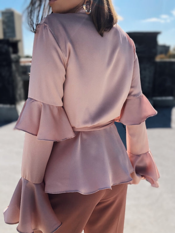 Aria Satin Ruffle Bell Sleeve Wrap Top - Blush - amannequin - amannequin