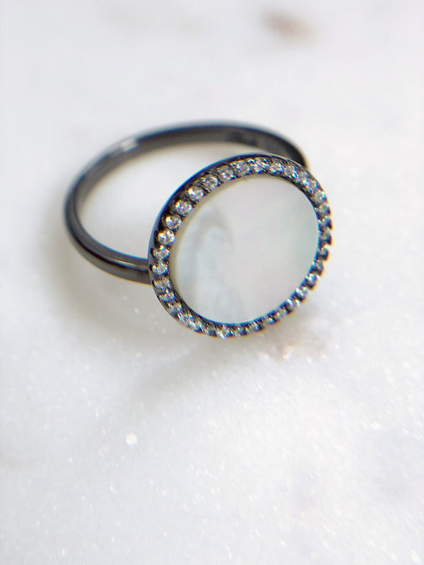 Dixie CZ Mother of Pearl Sterling Silver Ring-Hand ring-citi jewels-AMQN Boutique