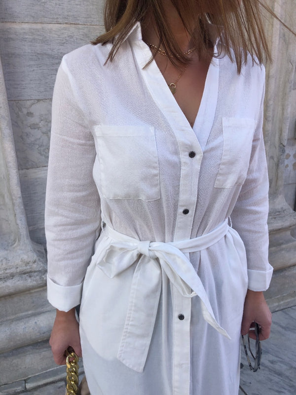 Nikita White Longline Button Down Shirt - White | amannequin | amqn boutique