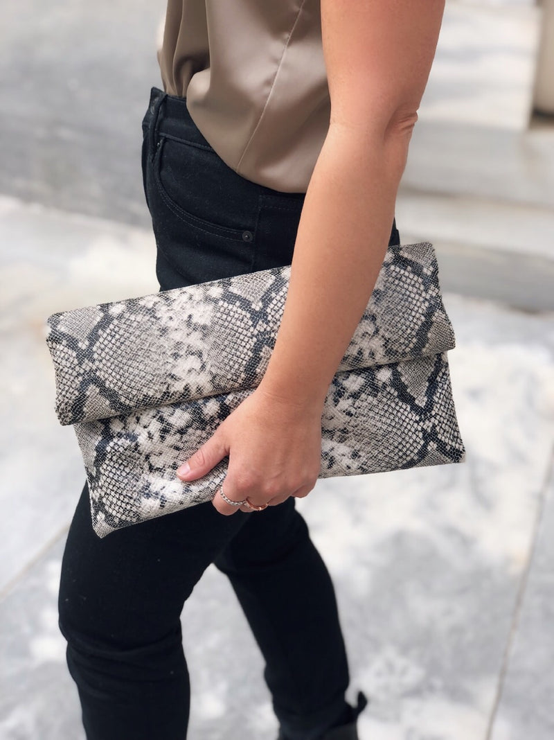 Manon Snakeskin Vegan Leather Fold Over Clutch - amannequin - amannequin