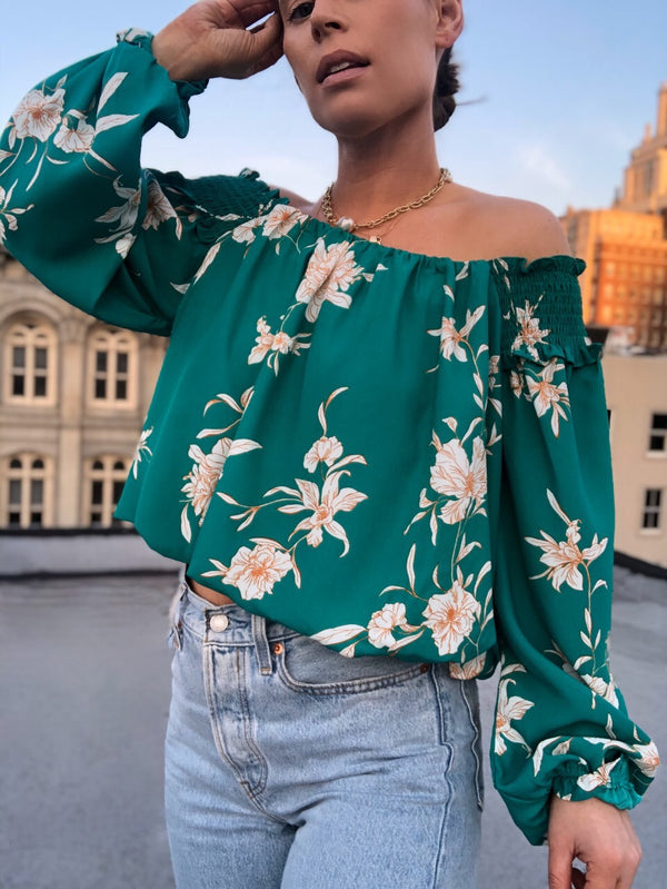 Fields of Floral Turquoise Puff Sleeve Top | Womens | Tops | amannequin
