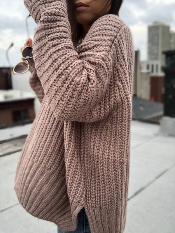Ziggy Mocha Oversized Slouchy Sweater - amannequin - amannequin