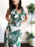 Oakley Green Palm Leaf Print Maxi Dress - amannequin - amannequin
