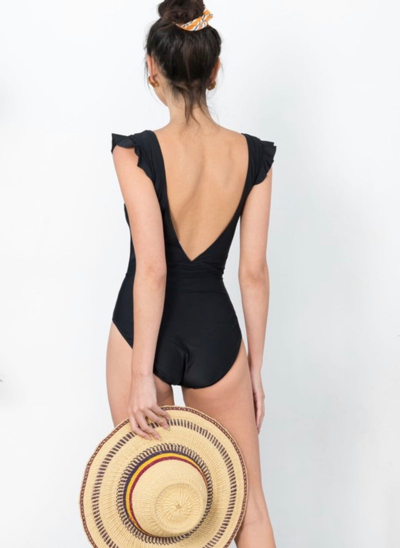 Emmy Tie Front Swimsuit - Black