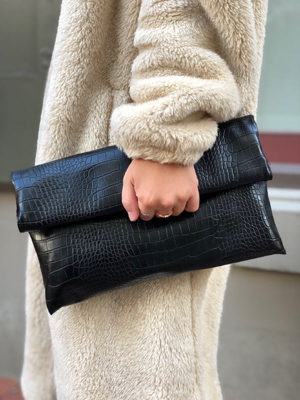 Manon Mock Croc Vegan Leather Fold Over Clutch - Black-Handbag-street level-AMQN Boutique