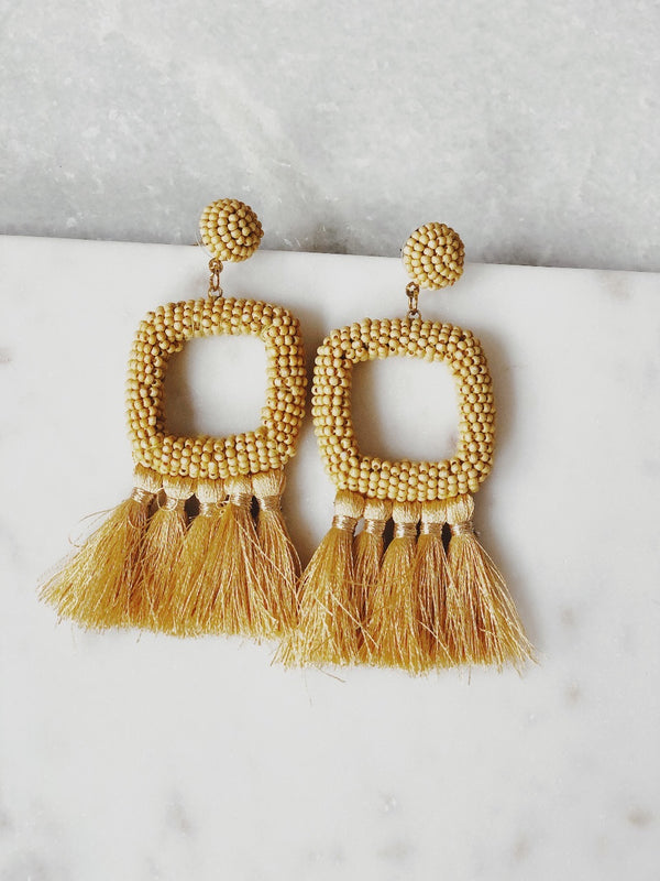 Daisy Square Bead Tassel Earrings - Mustard - amannequin - amannequin