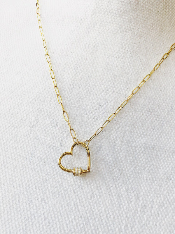 Nadelle Gold Heart Charm Necklace - Sterling Silver - amannequin - amannequin