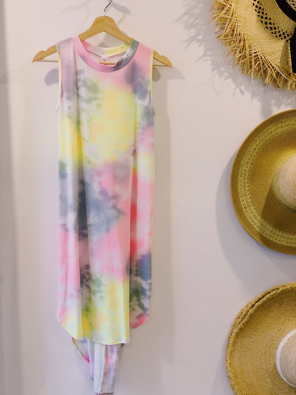 Nikki Tie-Dye Tank Dress - Mutli/Pink