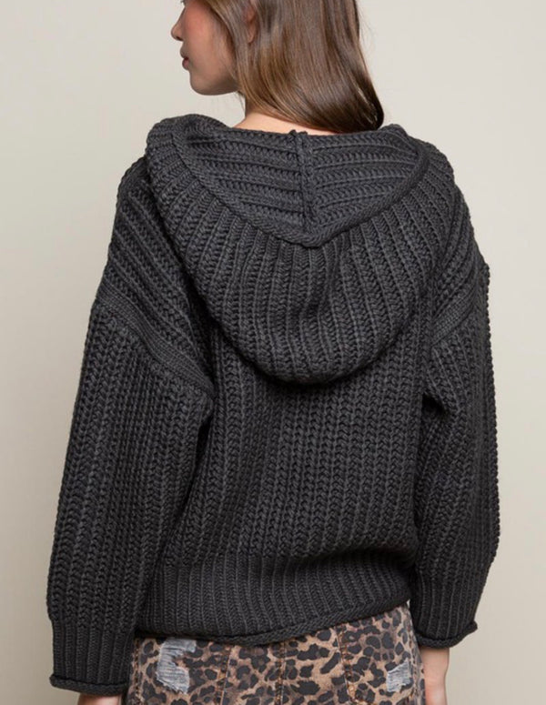 LUCILLE OVERSIZED KNIT HOODIE SWEATER