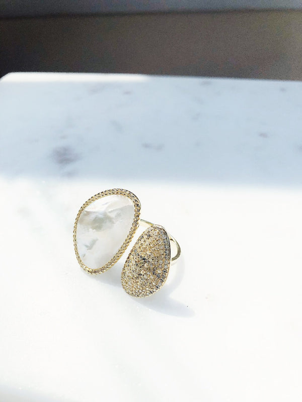 Dania Gold CZ Mother of Pearl Sterling Silver Ring-Hand ring-hippieChic by Op-AMQN Boutique