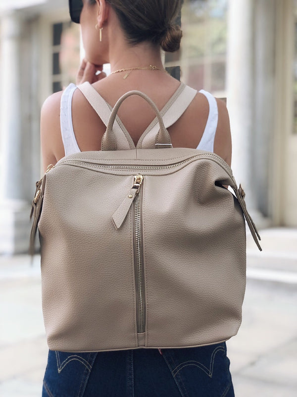Kenzie Nude Vegan Leather Backpack - Urban Expressions-Handbag-urban expressions-AMQN Boutique