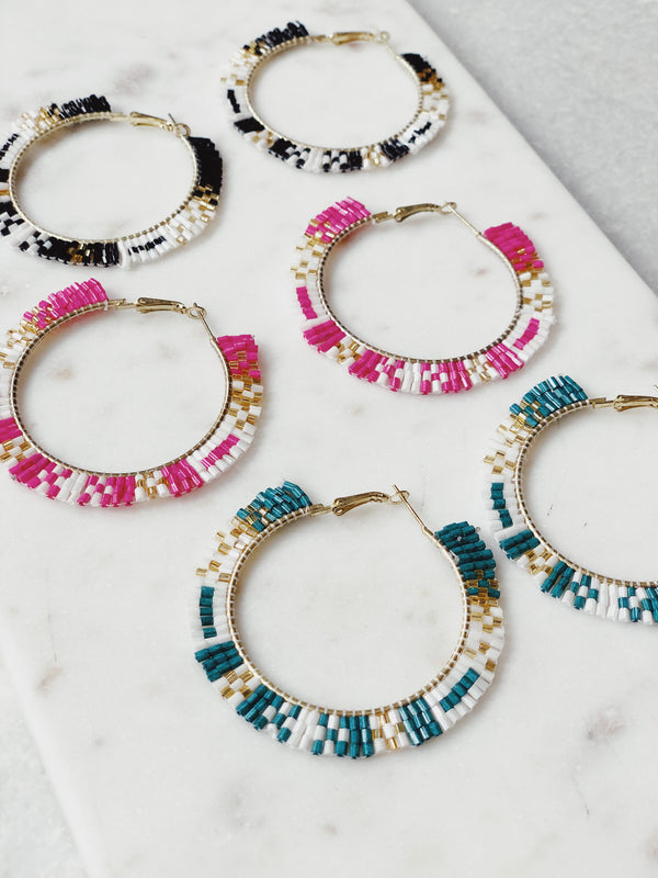 Dana Beaded Hoop Earrings-earrings-PANNEE-AMQN Boutique