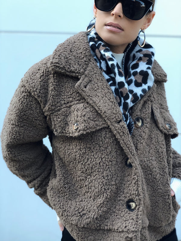 Liz Teddy Coat - Taupe-jacket-HYFVE-AMQN Boutique