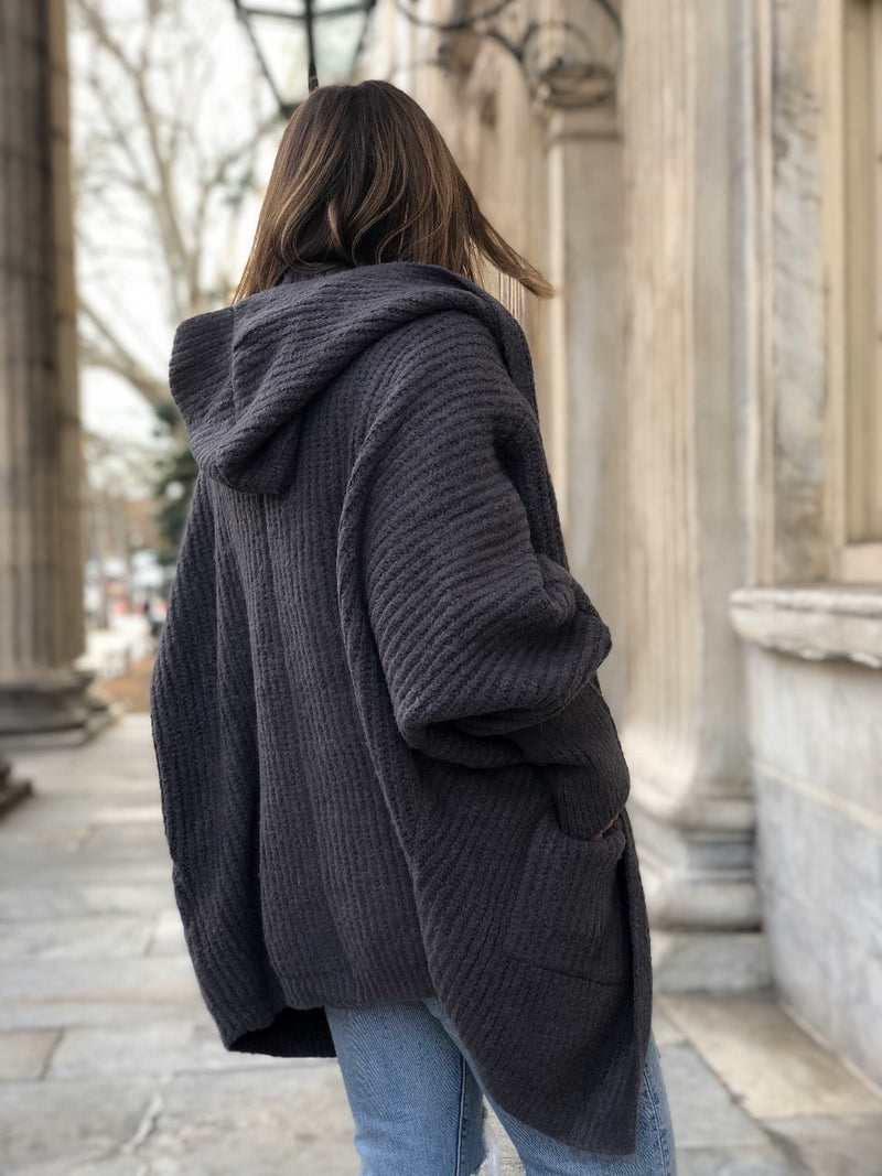 Willow Hoodie Cardigan Sweater - Gray - amannequin - amannequin