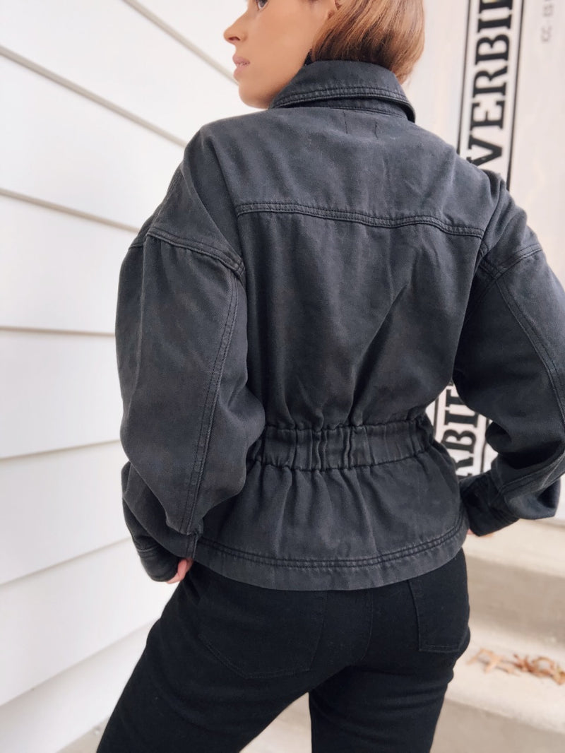 Obsessed Belted Denim Jacket - Faded Black - amannequin - amannequin
