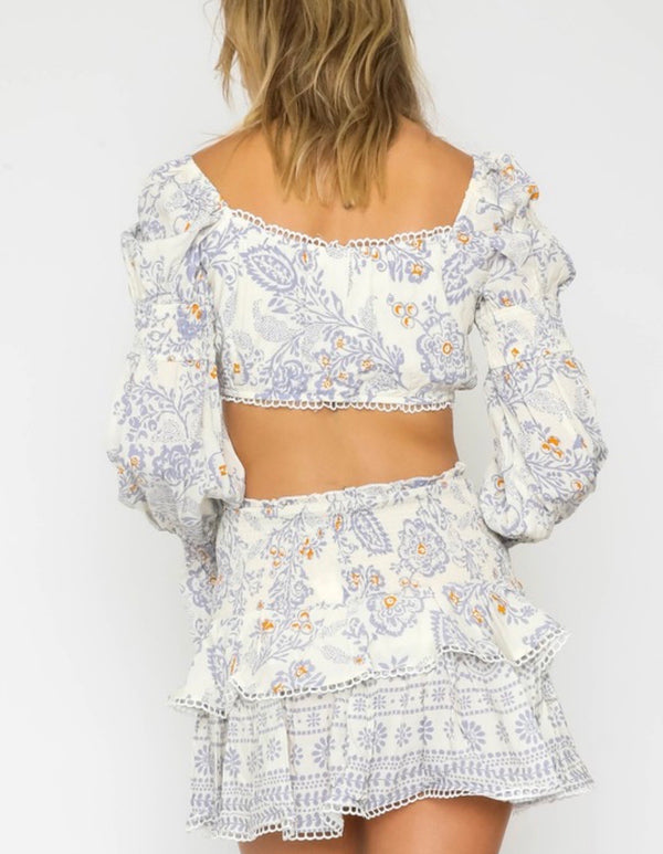 Brooklyn Paisley Print Puff Sleeve Crop Top - Ivory/Blue