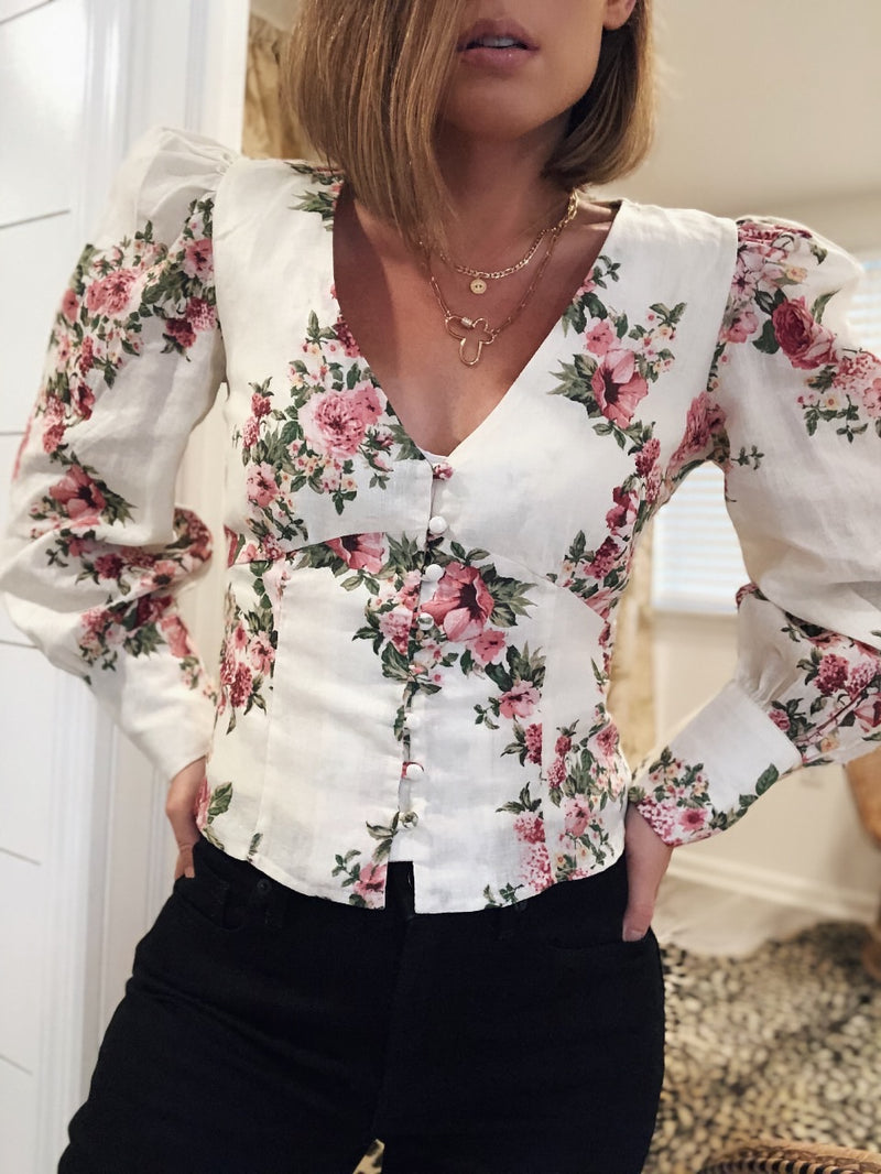 Gianna Floral Puff Sleeve Blouse - Cream/Pink