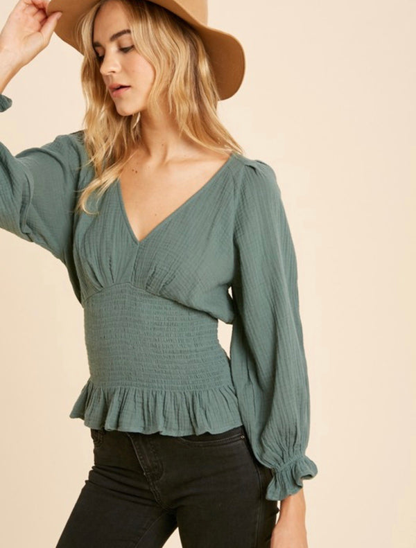 Juniper Smocked Puff Sleeve Ruffled Top - Dusty Sage