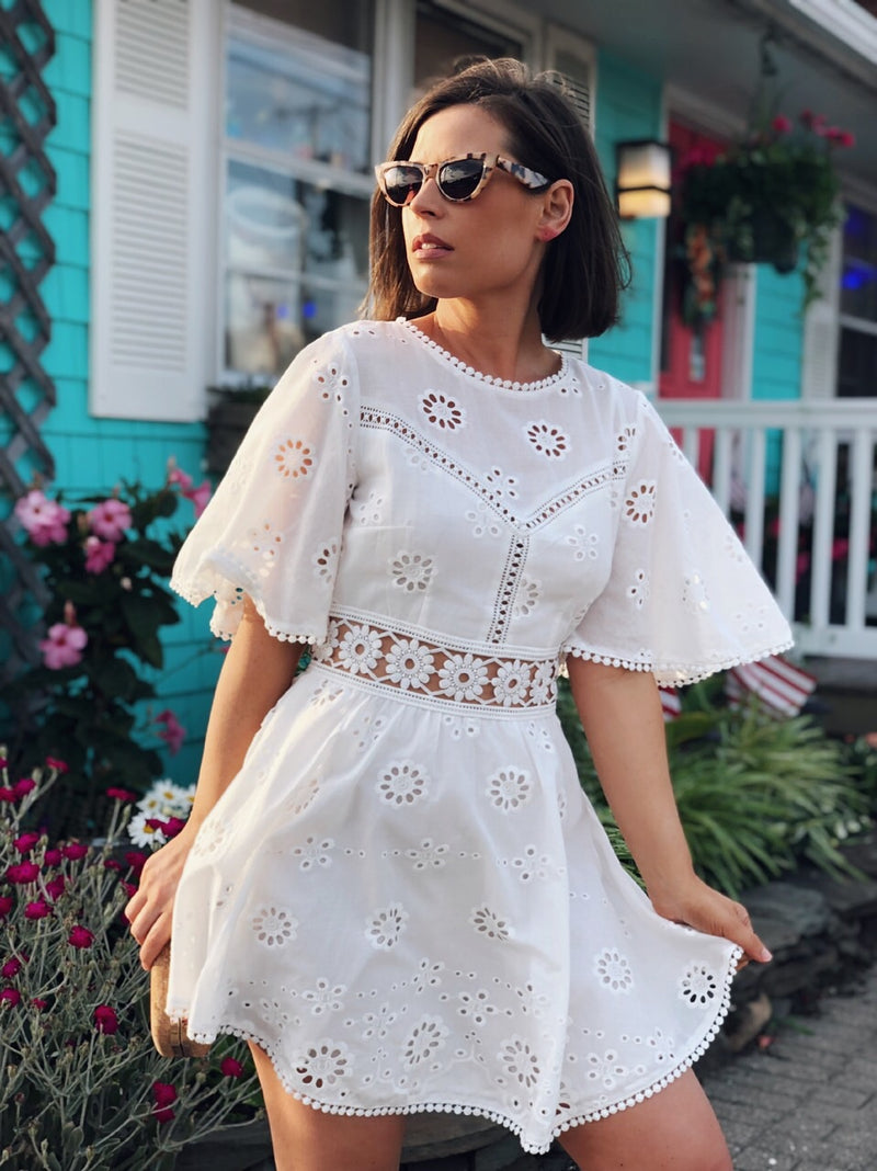 Leona White Eyelet Dress - amannequin - amannequin