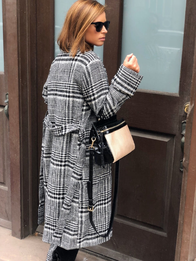 Chenelle Plaid Belted Coat - Black & White - amannequin - amannequin