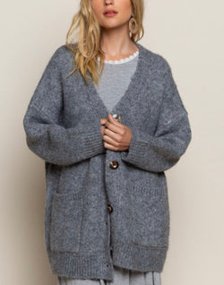 CORA OVERSIZED CARDIGAN SWEATER - GRAY