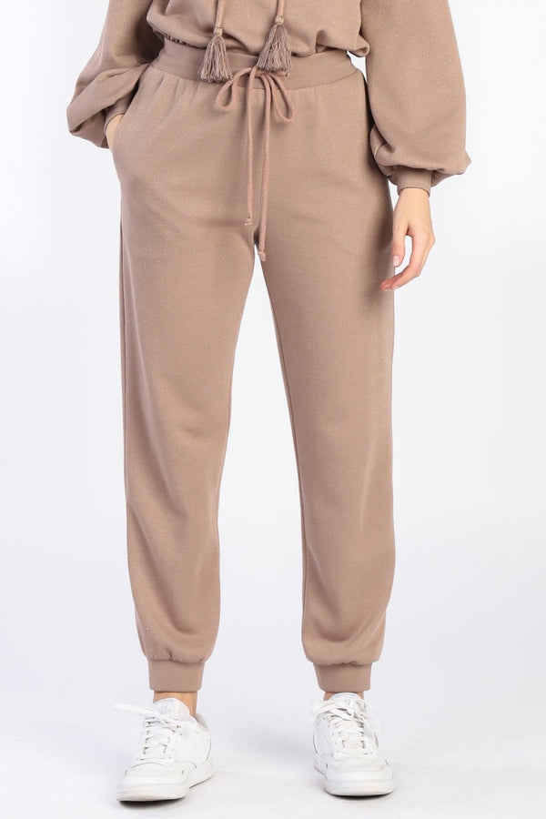 Champagne Dreams Shimmer Pocketed Lounge Pants - Mauve