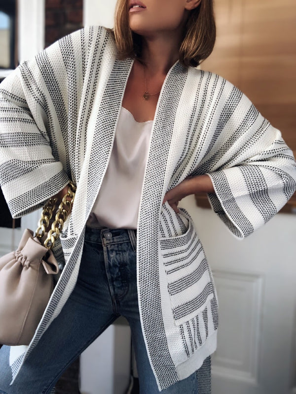 Valery Striped Kimono Cardigan - Cream & Black-Sweater-on twelfth-AMQN Boutique