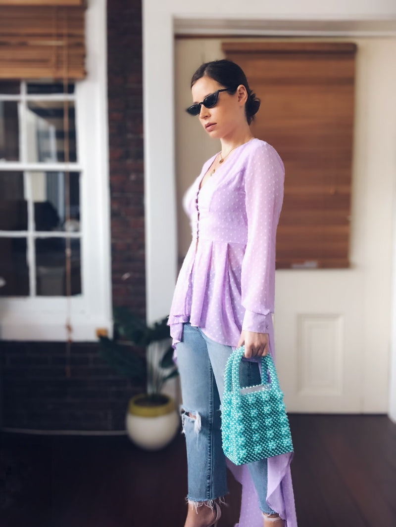 1st Date Lavender High Low Duster Top - amannequin - amannequin