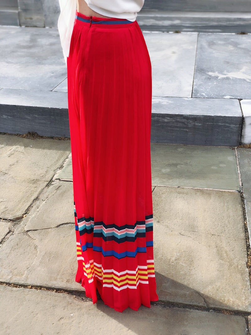 Varuka Red + Striped Pleated Maxi Skirt - amannequin - amannequin