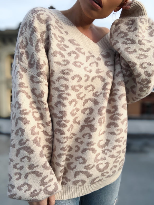 Coco Leopard Print Puff Sleeve Sweater - Cream/Blush-Sweater-listicle-AMQN Boutique
