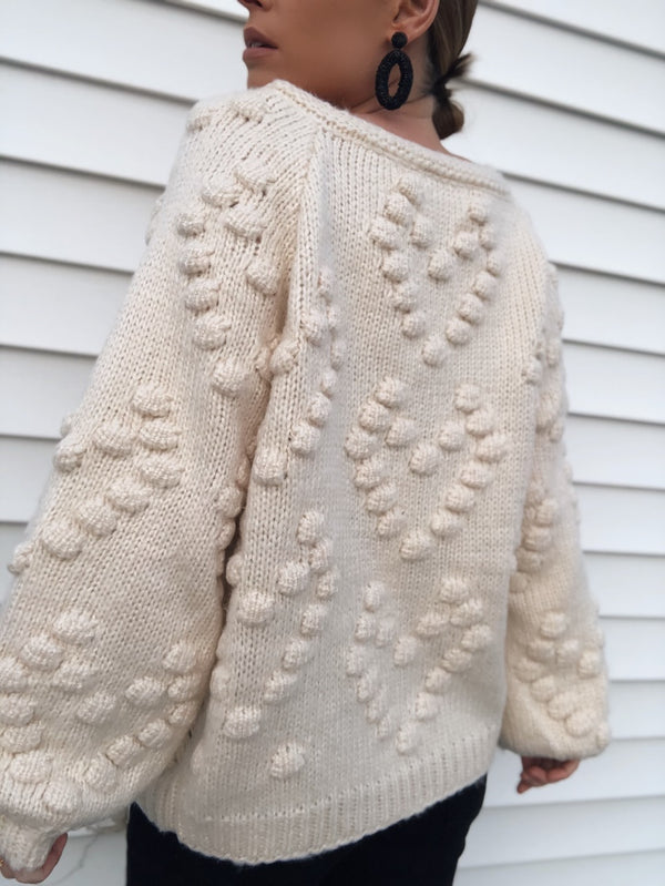 Jacey Pom Pom Cardigan - Cream-Sweater-favlux-AMQN Boutique