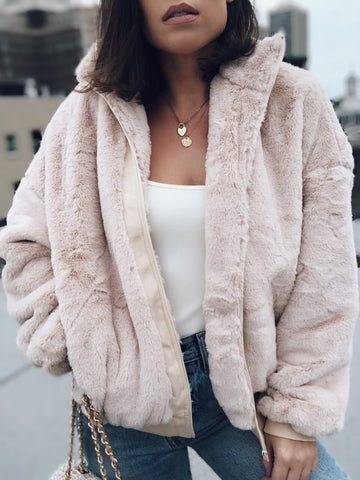 Bae Nude Zip Up Faux Fur Jacket - amannequin - amannequin