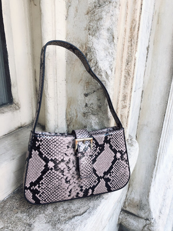 Gabriel Vegan Snakeskin Shoulder Bag by Street Level - Mauve-Handbag-street level-AMQN Boutique