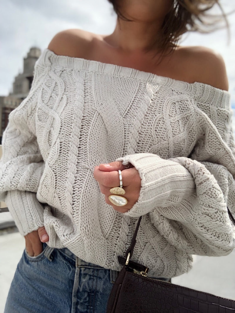 Tilda Cable Knit Puff Sleeve Sweater - Taupe-Sweater-Current Air-AMQN Boutique