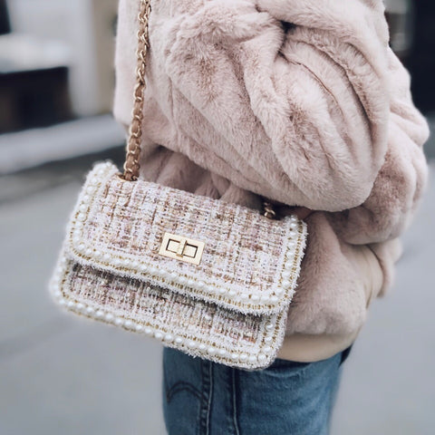 Fifi Blush & Cream Tweed Pearl Crossbody Handbag - amannequin - amannequin